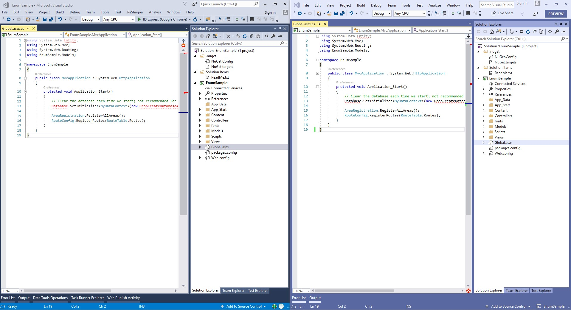 visual studio 2017 vs 2019 design